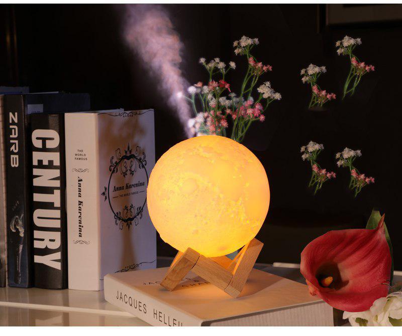 Máy xông tinh dầu mặt trăng , máy phun sương tinh dầu phát sáng ánh mặt trăng [ TẶNG GIÁ ĐỠ + 1 lọ tinh dầu )