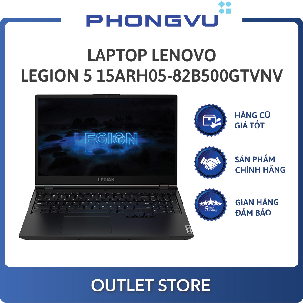 Laptop Lenovo Legion 5 15ARH05-82B500GTVN (AMD Ryzen 7 4800H) (Đen) - Laptop cũ