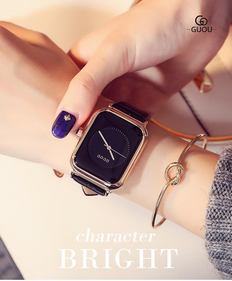 Đồng hồ Nữ GUOU Dây Mềm Mại đeo rất êm tay, Chống Nước Tốt, Bảo Hành Máy 12 Tháng Toàn Quốc 13