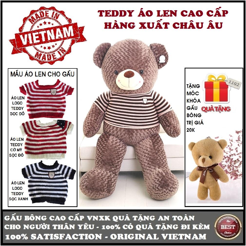 Hình ảnh Gấu bông Teddy mặc áo len size 1,4m khổ vải (gấu cao 1,2m) cao cấp màu nâu xám khói xuất châu âu, quà tặng an toàn cho trẻ và người thân 2 đánh giá