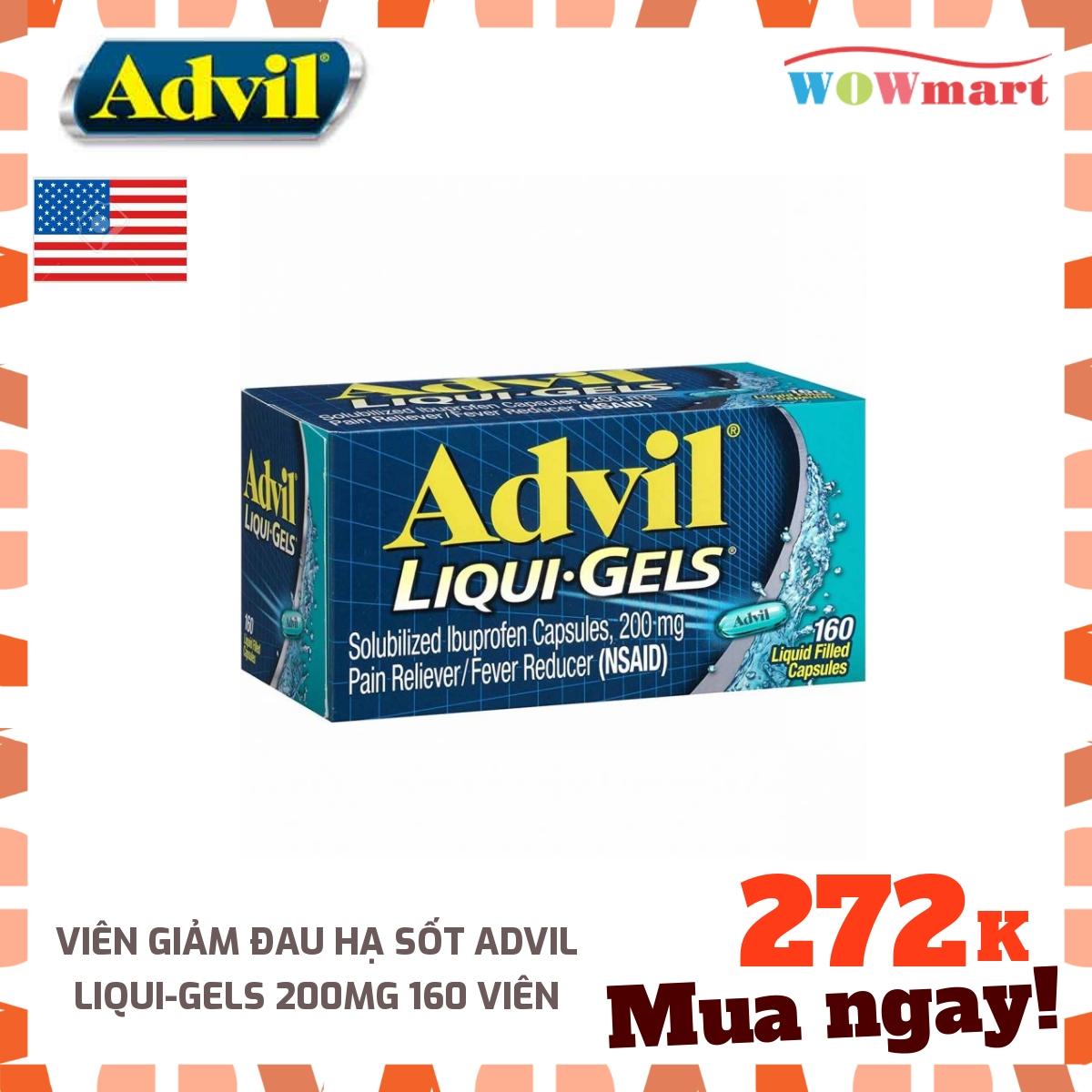 Viên giảm đau hạ sốt Advil Liqui-Gels 200mg 160 viên - MỸ