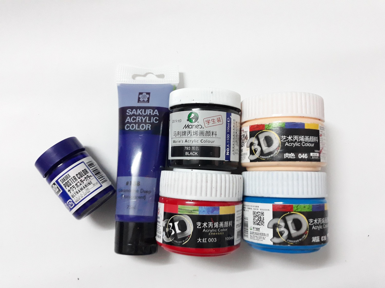 Màu vẽ acrylic 3D 100ml dùng được trên các chât liệu vải, gỗ, giây, thủy tinh