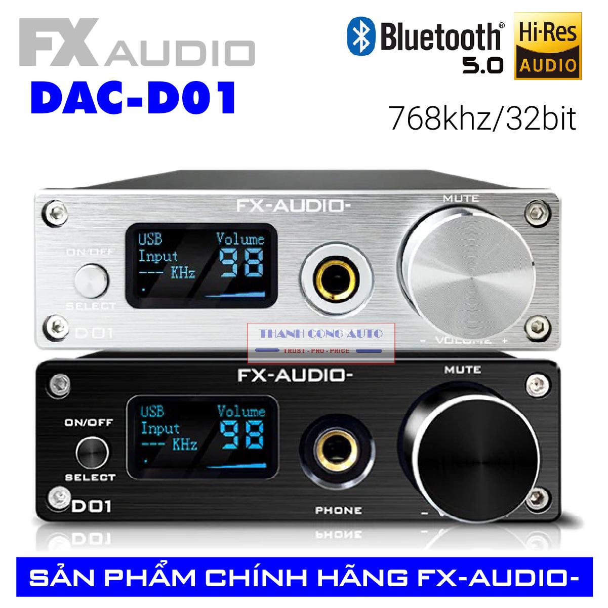 Bộ giải mã DAC FX audio D01 32bit Bluetooth - bản nâng cấp hoàn hảo của X7