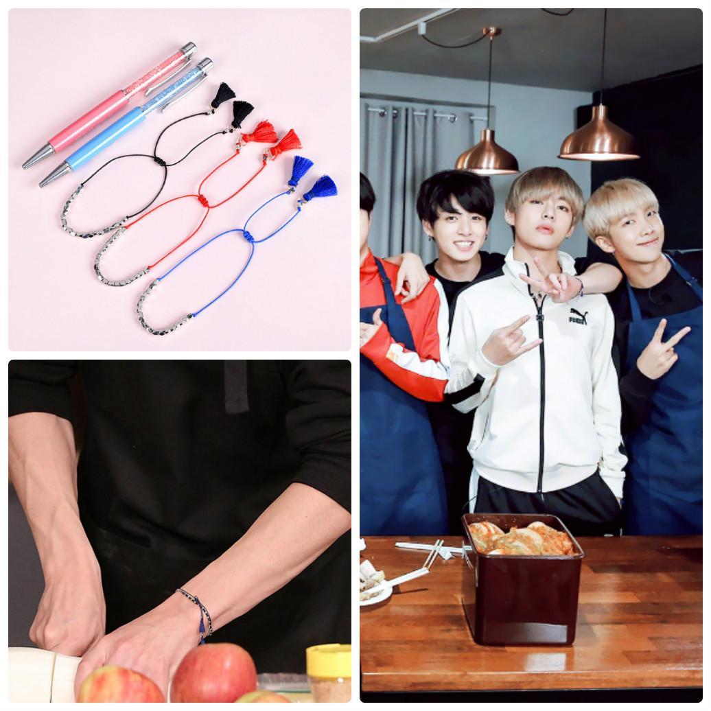 Vòng tay sợi chỉ gắn hạt lục giác lắc tay BTS đeo tay may mắn phụ kiện nữ thời trang phong cách Hàn Quốc army