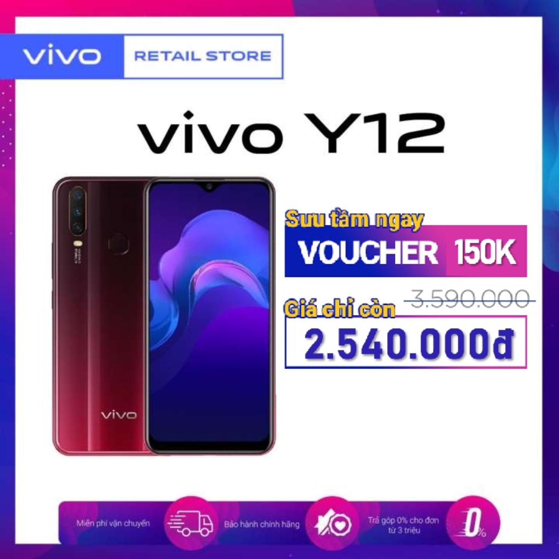 BẢO HÀNH CHÍNH HÃNG 12 THÁNG Điện thoại Vivo Y12 (3GB/64GB) - Pin 5000mAh 3 camera sau 13MP Camera trước 8MP Màn hình 6.35'' 2 Nano SIM - Hàng chính hãng bảo hành 12 tháng