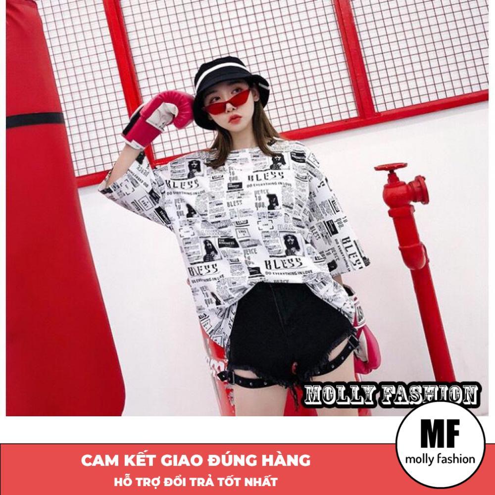 Áo phông, áo thun nam nữ tay lỡ form rộng giấu quần Bless Freesize < 75kg Molly Fashion ML110