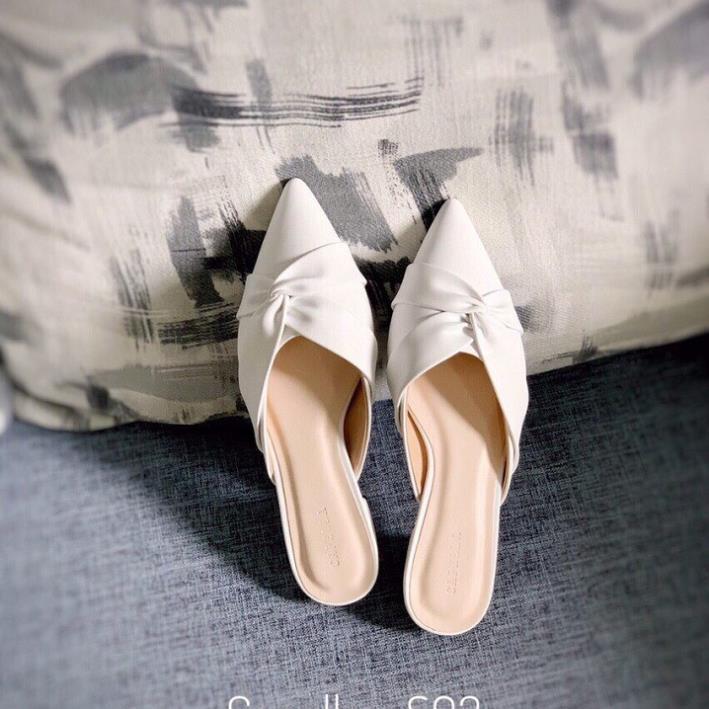 Sục nữ, giày nữ mũi nhọn da mềm kiểu xoắn chéo - A7 1