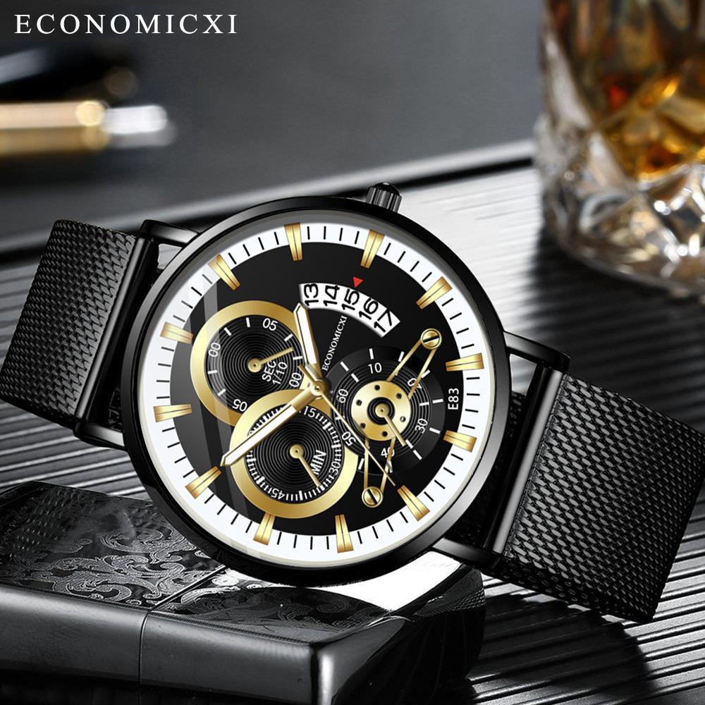 Đồng hồ nam ECONOMICXI dây thép mành đen chạy lịch ngày (Có hộp) EZI99 thumbnail