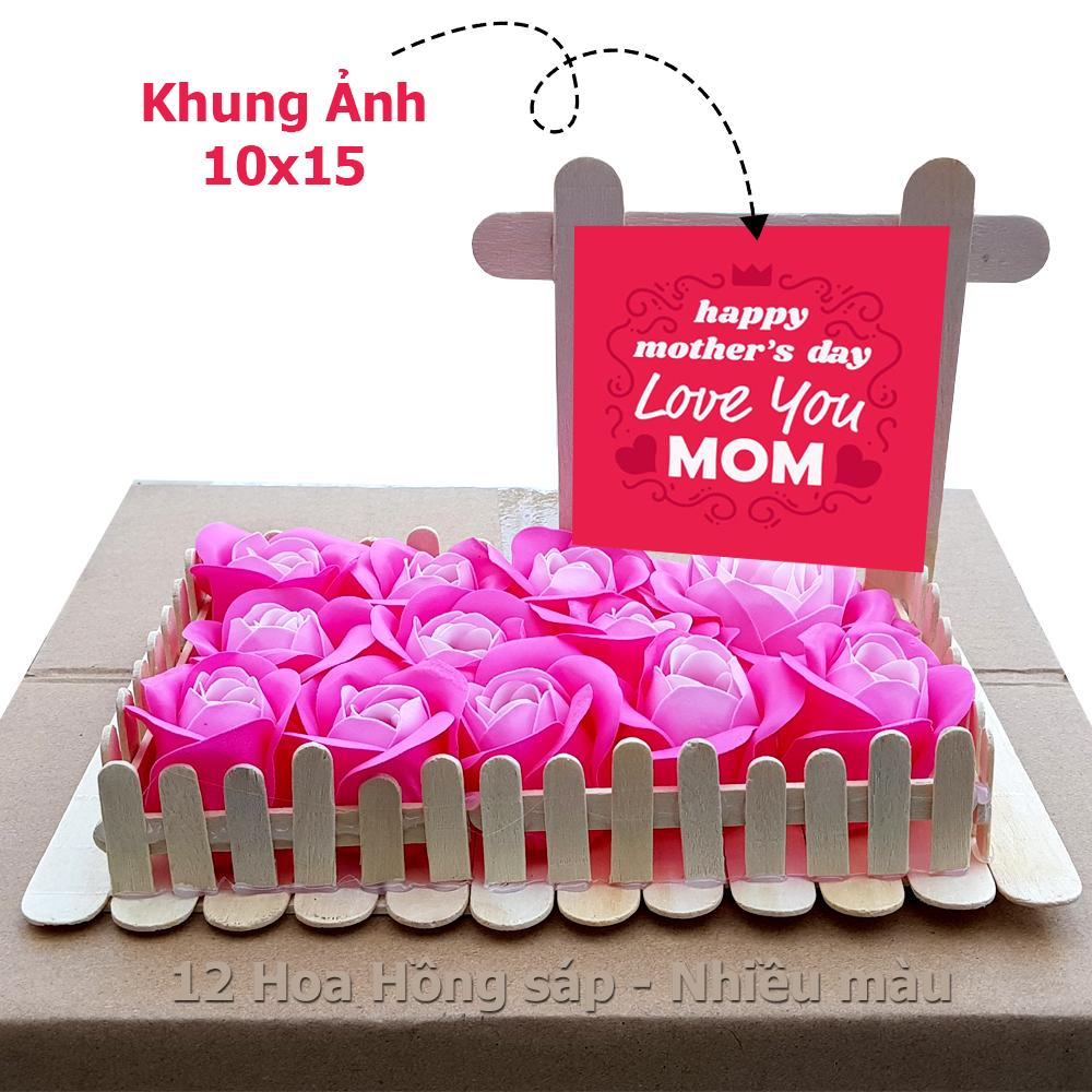 Vườn hoa hồng tặng Mẹ, Bạn Gái làm bằng que kem và hoa hồng sáp thơm - Handmade