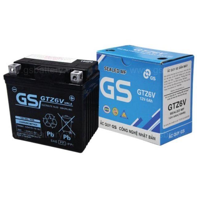 Bình ắc quy  khô GS GTZ6V PCX, Vision, Lead125, Sh Việt, Airblade 125, Nozza Grande STD...
