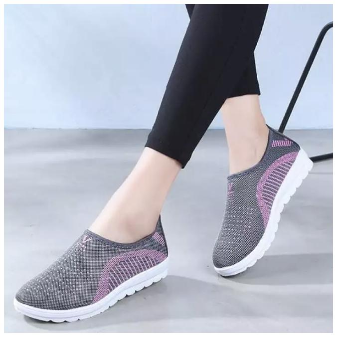 Giày lười nữ phong cách êm chân thoáng khí - chữ V (full hộp) -màu ghi, tím, hồng - Size 35 đến 40 - V124