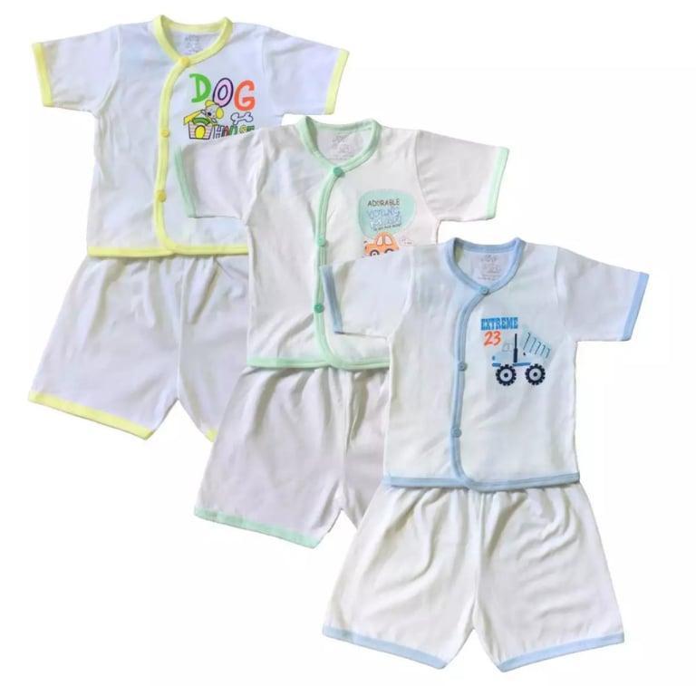 COMBO 3 Bộ quần áo sơ sinh cộc tay màu trắng JOU ( 100% cotton cao cấp)
