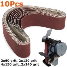 10PCS Sanding Belts 50x686mm Cloth Backed Mixed Grit Linisher Sander Bench Grinder Brown - intl