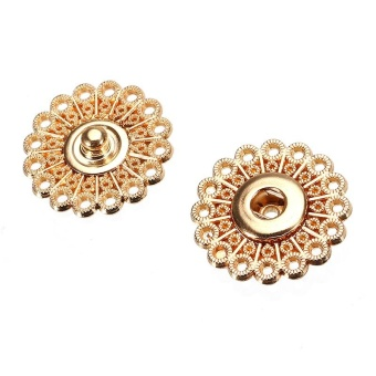 10pcs Scrapbooking Accessories High Quality Type Metal Buttons 21mm 25mm Dark Female Buckle Coat Button Snap Gold - intl