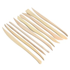 10PCS Wood Clay Sculpting Kit DIY Plasticine Craft Pottery Carving Modeling Tools Set - intl