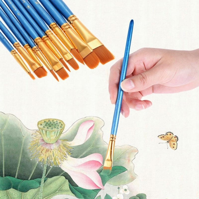 Mua 10pcs/pack Artist Paint Brush Kit Set Nylon Hair Round Point Tip for Acrylic Aquarelle Watercolor Oil Painting - intl
