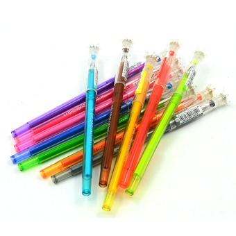 12 PCS Colorful 0.5mm Gel Ink Pens Set with Crown Diamond Shape PenCap Gift for Children Kid - intl