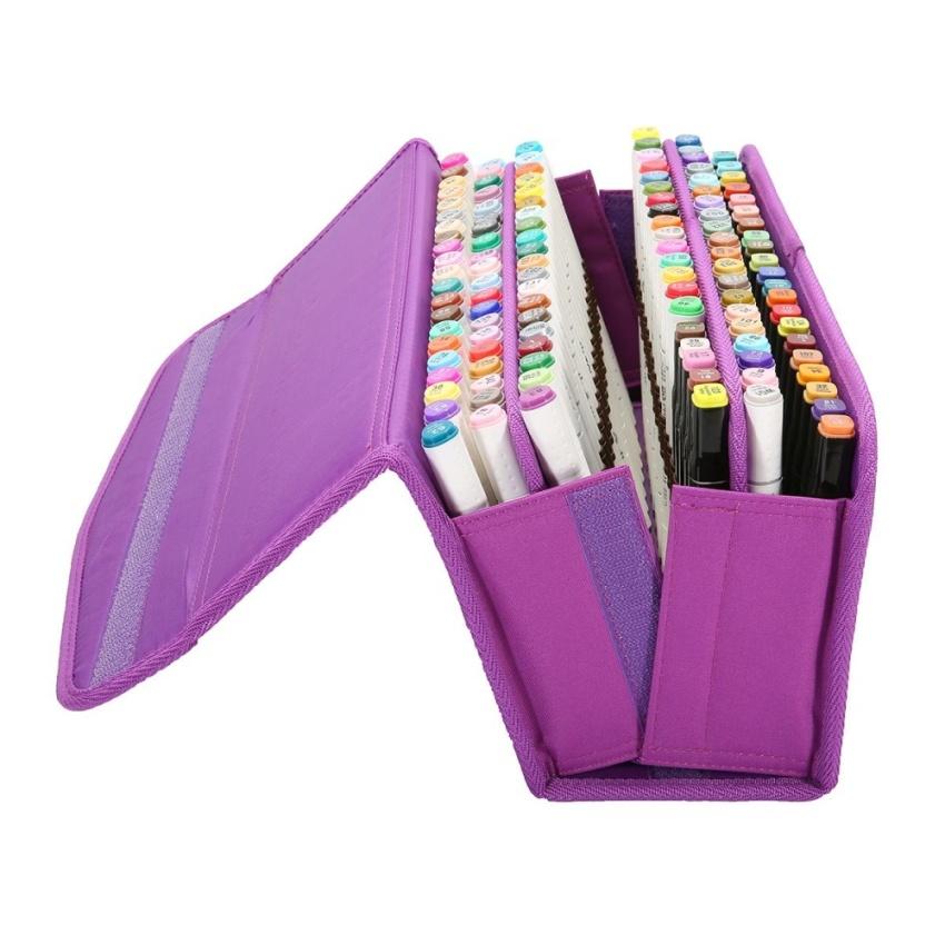 Hình ảnh 120 Slots Large Multi-layer Marker Pen Carrying Bag Storage Case Holder Portable - intl
