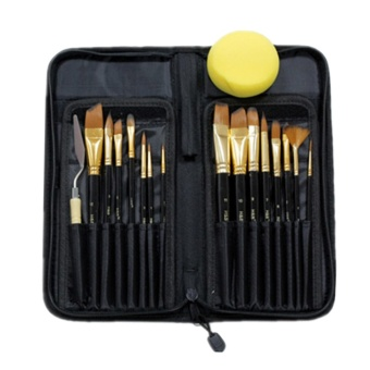17 PCS Nylon Hair Paint Brushes Palette Knife Sponge Set LongHandle with Storage Case for Artist Students Watercolors AcrylicOil Painting - intl