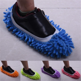 1pair of Dusting Cleaning Foot Cleaner Shoe Mop Slipper FloorPolishing Cover - intl