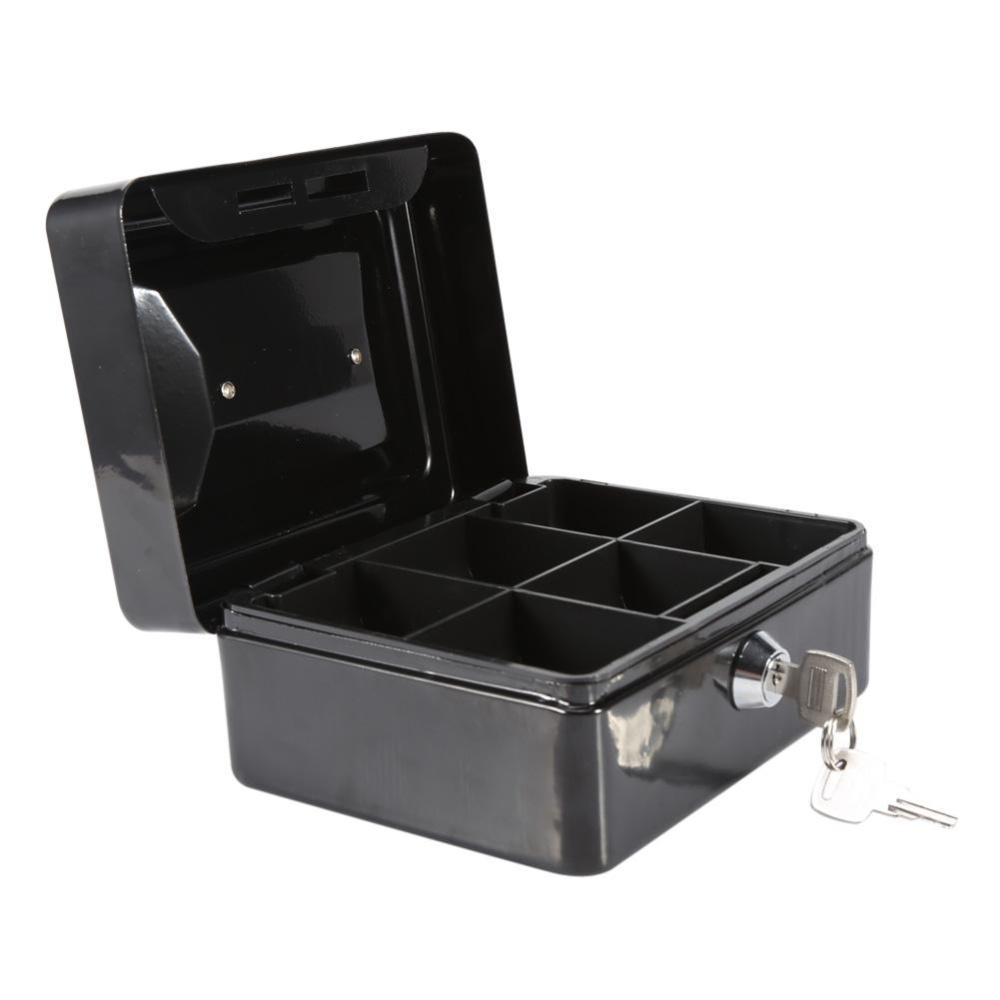 1Pc Mini Portable Steel Petty Lockable Cash Money Coins Safe Security Box(Black) - intl