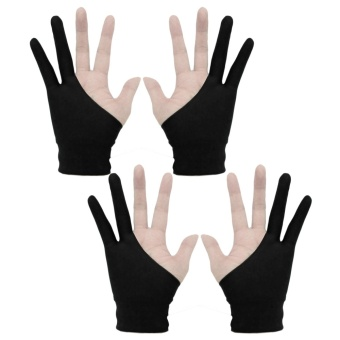 2 Pairs Professional 2-fingers Artist Tablet Drawing GlovesAnti-fouling for Graphic Tablet Drawing Pen Display Size S Black -intl
