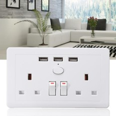 3 USB Fast Charger Ports+2 UK Plugs+2 Switch Multi-function Wall Socket Plate White - intl