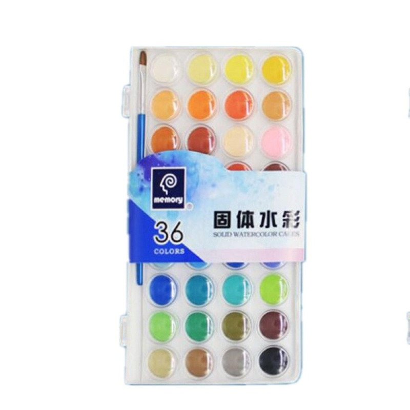 Mua 36 Colors Fundamental Water Color Pan Set Non-Toxic Artist Cake Paint Brush Kits