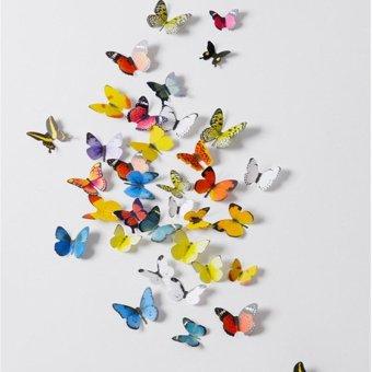 3D Fresh Butterflies Decorative Wall Stickers - intl