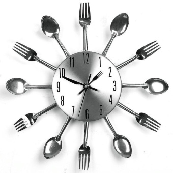 3D Home Decor Quartz DIY Wall Clock Kitchen Cutlery Clocks - intl