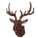 3D Xếp Hình Gỗ Diy Treo Tường hươu Đầu nai sừng tấm đầu gỗ tặng thủ công trang trí Nhà Động Vật Hoang Dã- quốc tế