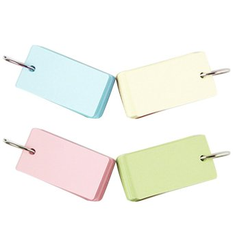 4 PCS Binder Ring Easy Flip Flash Cards Note Study Cards Book forIndex Memo Scratch DIY Greeting Card Bookmark Pink Yellow GreenBlue Color - intl