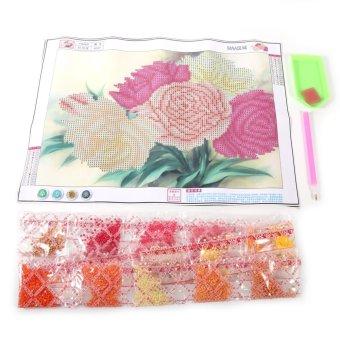 5D Diamonds Peony Flowers Embroidery Painting Home Decor - intl