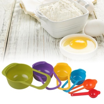 6 Pcs Home Kitchen Essential Tools Kit Set for Baking Multifunctional Measuring Spoons Plastic Nested Measuring Cups Multi-Color - intl