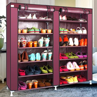 6 Tier Covered Shoes Rack Storage Shelf Organizer Cabinet Closet Stand Cupboard - intl