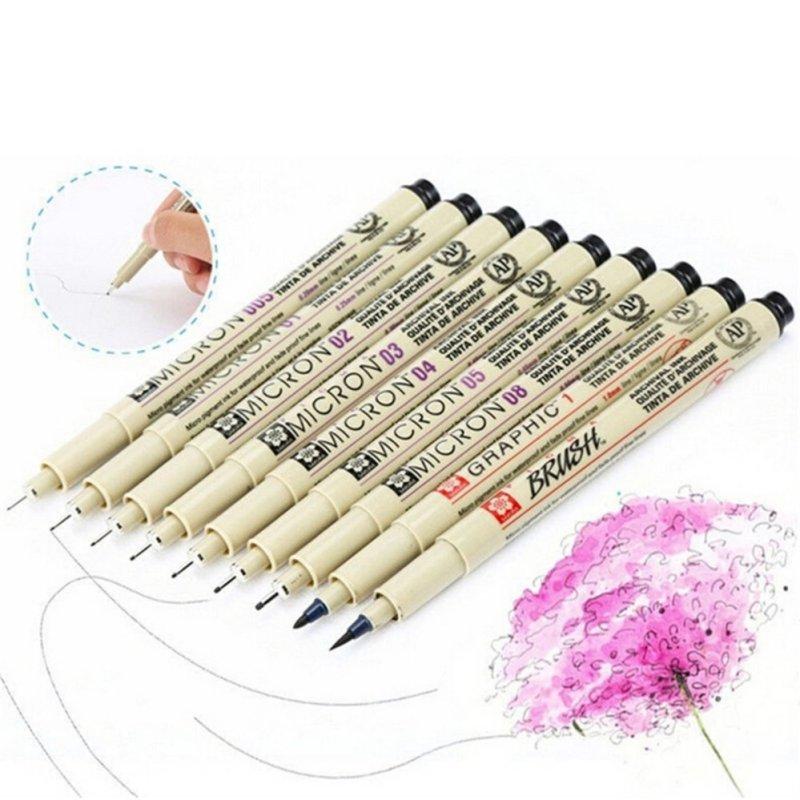 Mua 8x Sakura Pigma Micron Drawing Pen 005 01 02 03 04 05 08 1.0 Brus Supplies Beige - intl