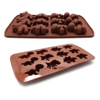 Ai Home 12Case DIY Silicone Mold Chocolate Ice Cube Tray FondantMould (Brown) - intl