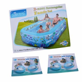 Bể Bơi Bơm Hơi Vuông Cỡ 262* 173*56 cm + Tặng 02 Bộ Kính Bơi, Bịt Tai, Bịt Mũi