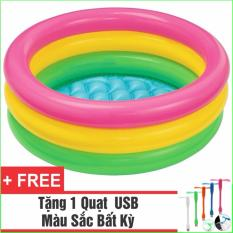 Bể Bơi Phao Cho Bé INTEX Cầu Vồng- Loại 3 tầng 86cm + Tặng 1 Quạt USB tiện dụng
