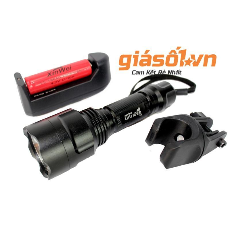 Bảng giá Bộ 1 đèn pin siêu sáng C8 + 1 pin sạc lithium + 1 cục sạc + 1 giá đỡ xe đạp (Đen)