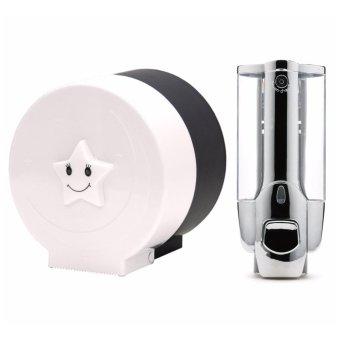 Bộ 1 hộp đựng nước rửa tay treo tường đơn và 1 hộp đựng giấy vệsinh cỡ nhỏ CS593