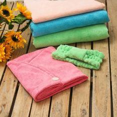 Giá Bộ 1 khăn trùm đầu siêu thấm+1 băng đô nơ rửa mặt 1 khăn tắm lớn