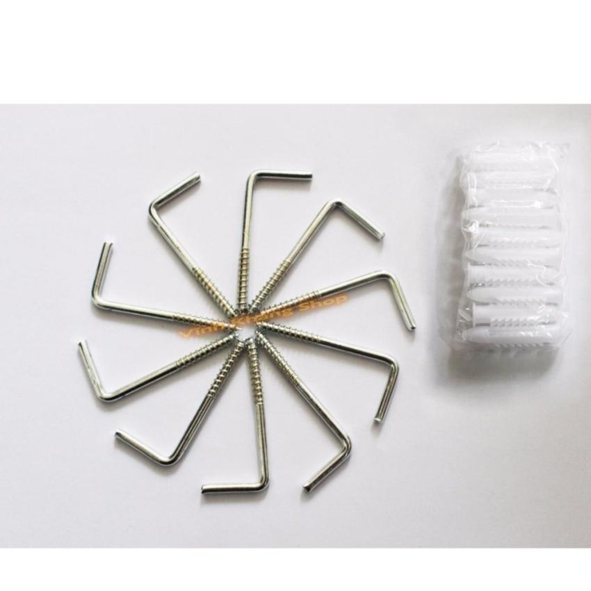 Bộ 10 chiếc đinh móc treo dây chữ L không gỉ(Bạc)