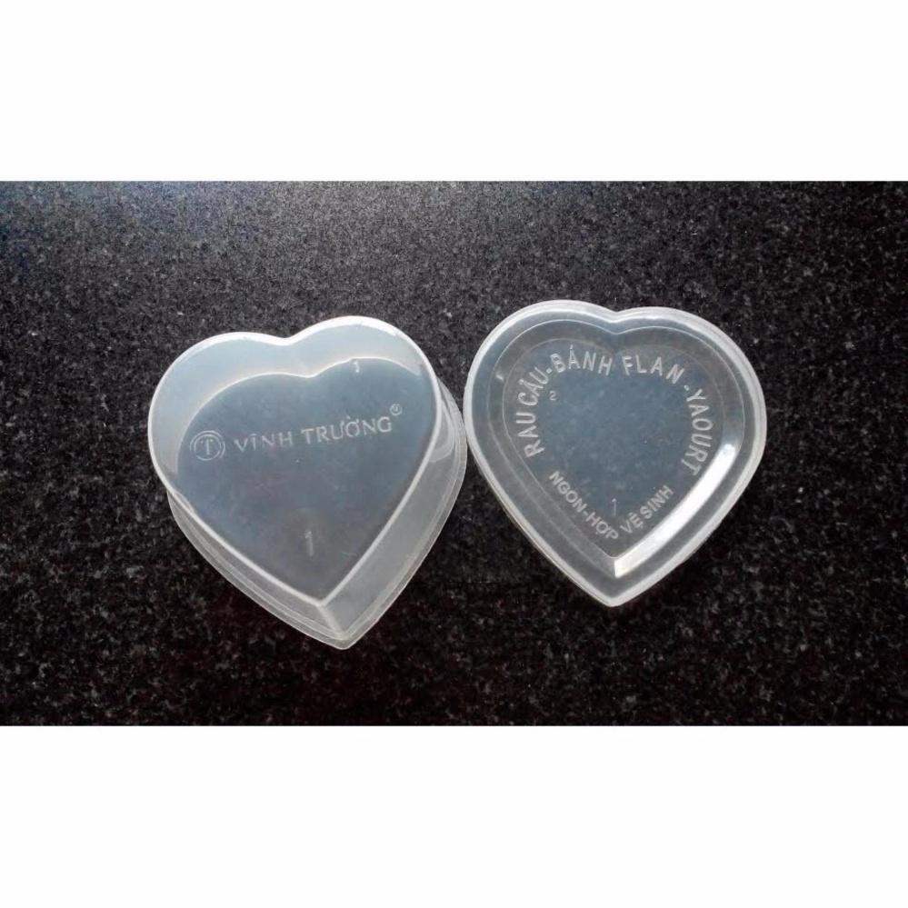 Bộ 10 hộp nhựa làm caramen sữa chua và thạch hình trái tim