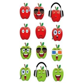 Bộ 12 mẫu decal dán tường Hàn Quốc- Những quả táo vui nhộn