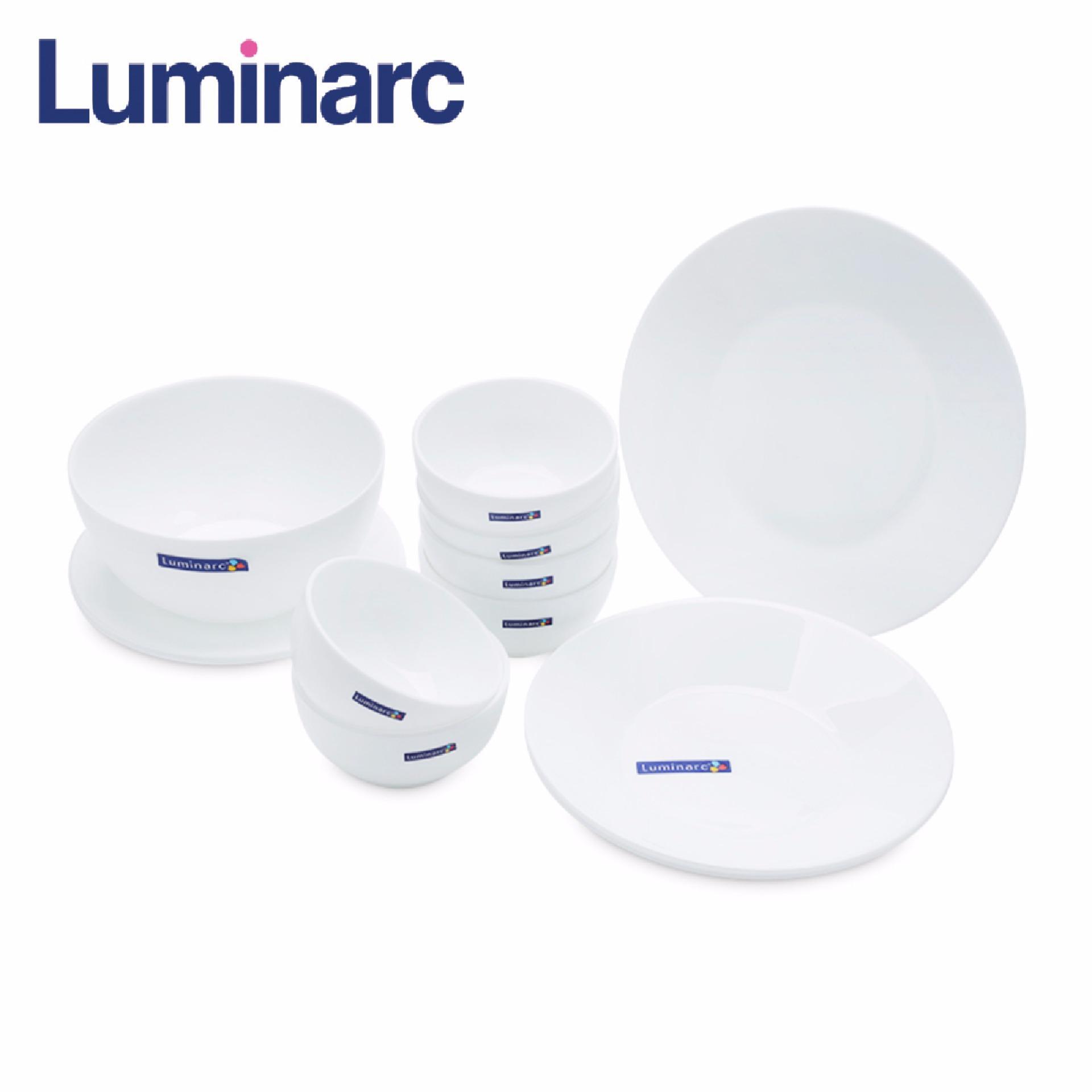 Bộ 12 món đồ dùng chén dĩa thủy tinh Luminarc White Essence J4852