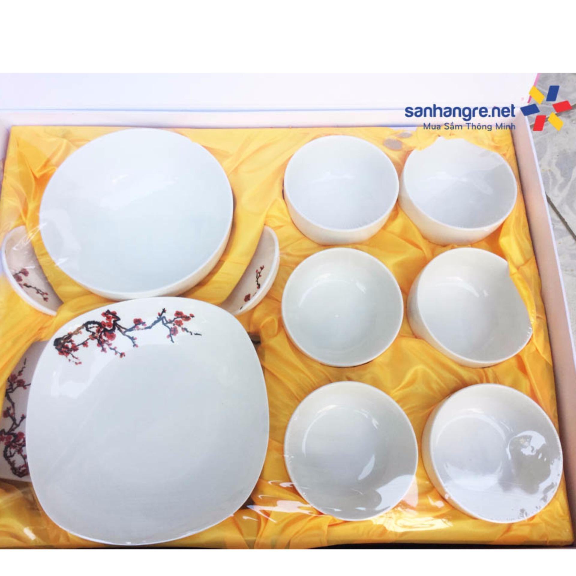 Bộ 12 món tô, bát, đĩa sứ Ceramic Hoa đào