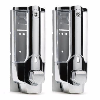 Bộ 2 hộp đựng nước rửa tay xà phòng gắn tường loại 1 bình SM467(Màu bạc)(Bạc)