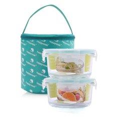 Bộ 2 hộp thuỷ tinh hình tròn 420ml & túi giữ nhiệt Happy Cook Glass JCG-02R