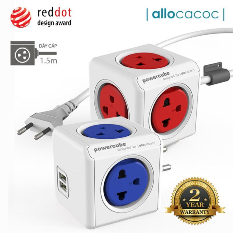 Bảng giá Bộ 2 Ổ Cắm Điện Allocacoc PowerCube Extended + Original USB 2 Sạc USB & 9 Ổ Cắm Dây Cáp 1.5m - Hàng Nhập Khẩu